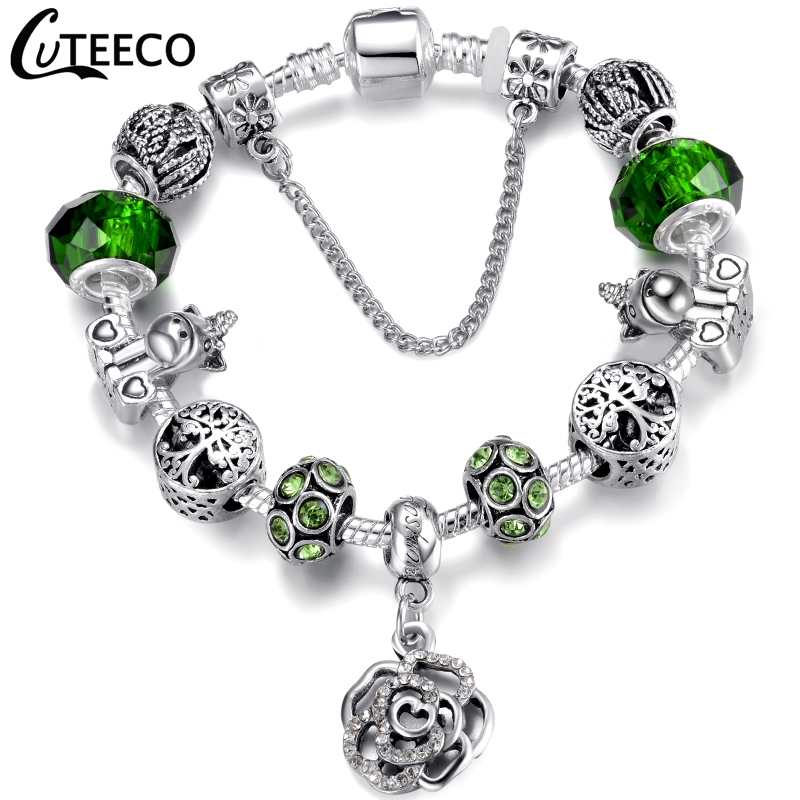H884cc3d8a3d040d38f70ad2e1e5879feF - CUTEECO Antique Silver Color Bracelets & Bangles For Women Crystal Flower Fairy Bead Charm Bracelet Jewellery Pulseras Mujer