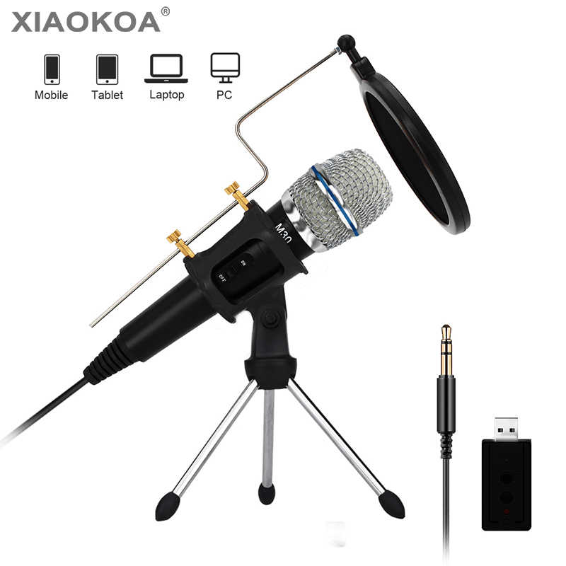 Professional Condenser Microphone For Computer With Stand For Phone Pc Microphone Iphone 3 5mm Usb Microfone Karaoke Mic Xiaokoa Microphones Aliexpress