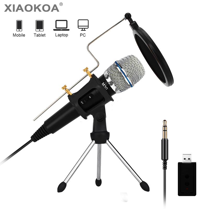 Profissional Microfone Condensador para PC microfone Do Computador com Suporte para Telefone iphone 3.5mm USB microfone Karaoke mic XIAOKOA