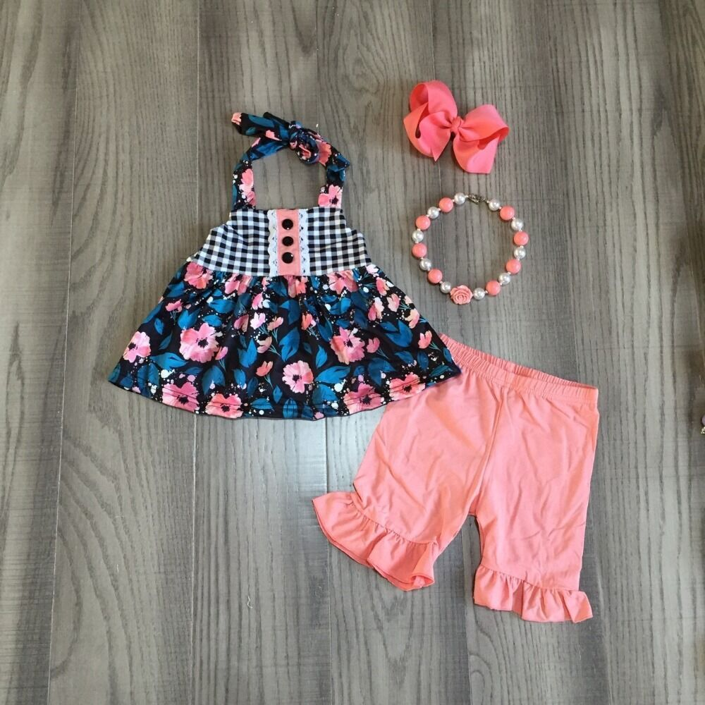 Baby Girls Summer Outfits Girls Floral Top With Coral Shorts Girls Outfits With Accessories