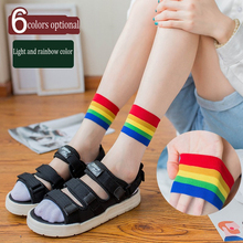 1 Pair Fashion Rainbow College Wind Glass Silk Crystal Socks Summer Thin Section ladies Colorful Striped Womens Hot Sale