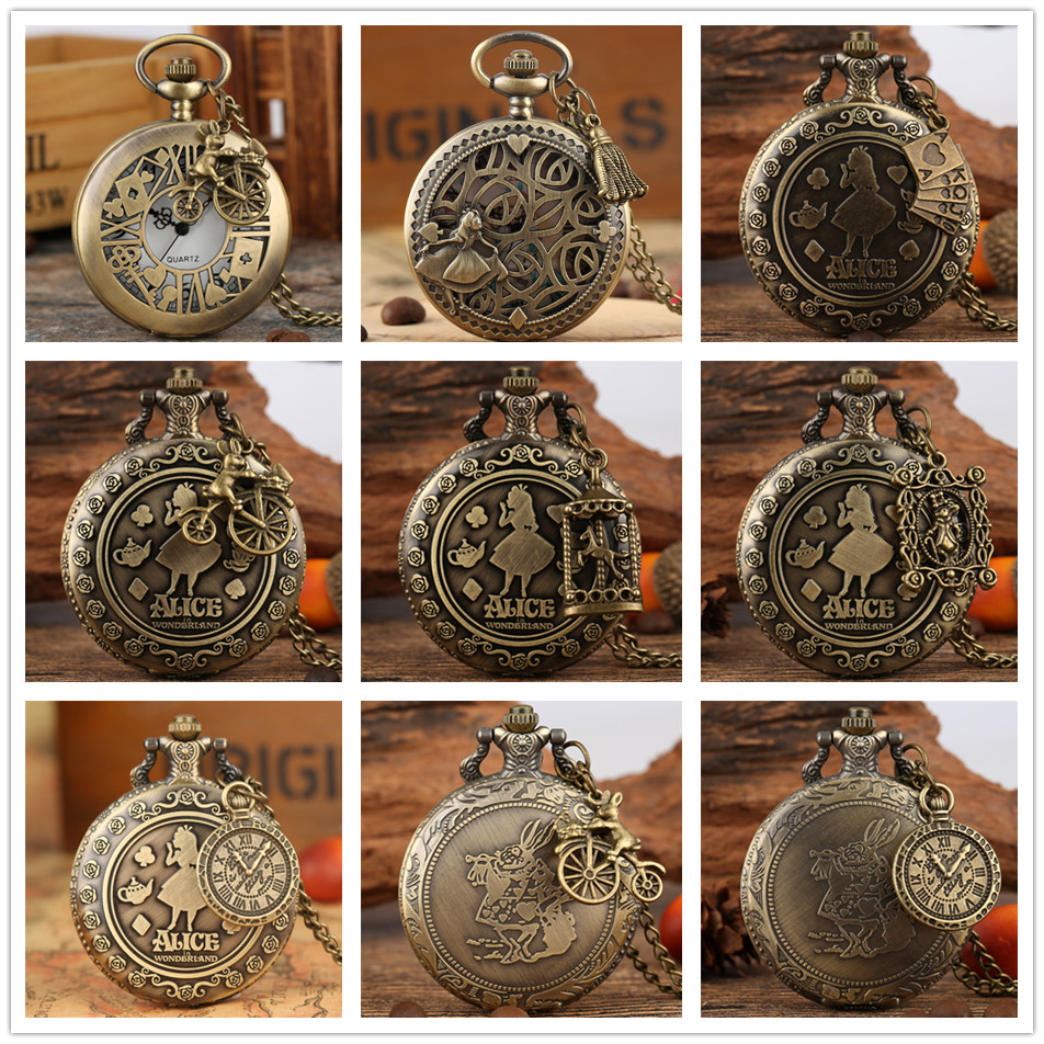 Charm Pendant Accessory  Themed Quartz Necklace Pocket Watches Fob Chain Clock Gifts for Kids Ladies