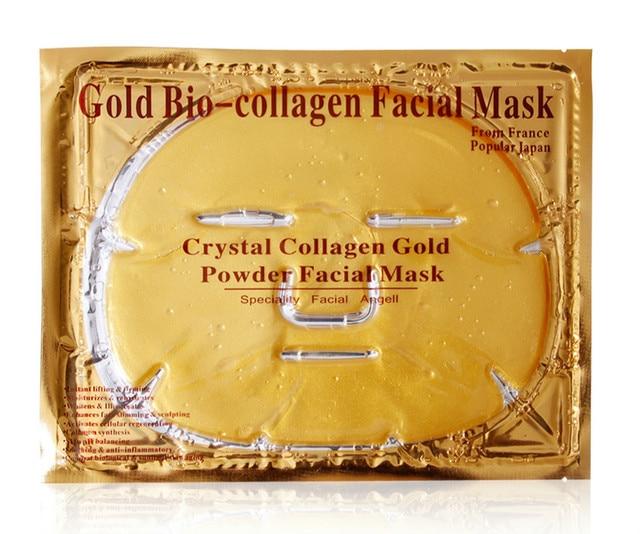 10Pcs 24K gold facial mask anti-aging Firming moisturizing organic Korean 24k gold face collagen crystal facial mask skin care 2