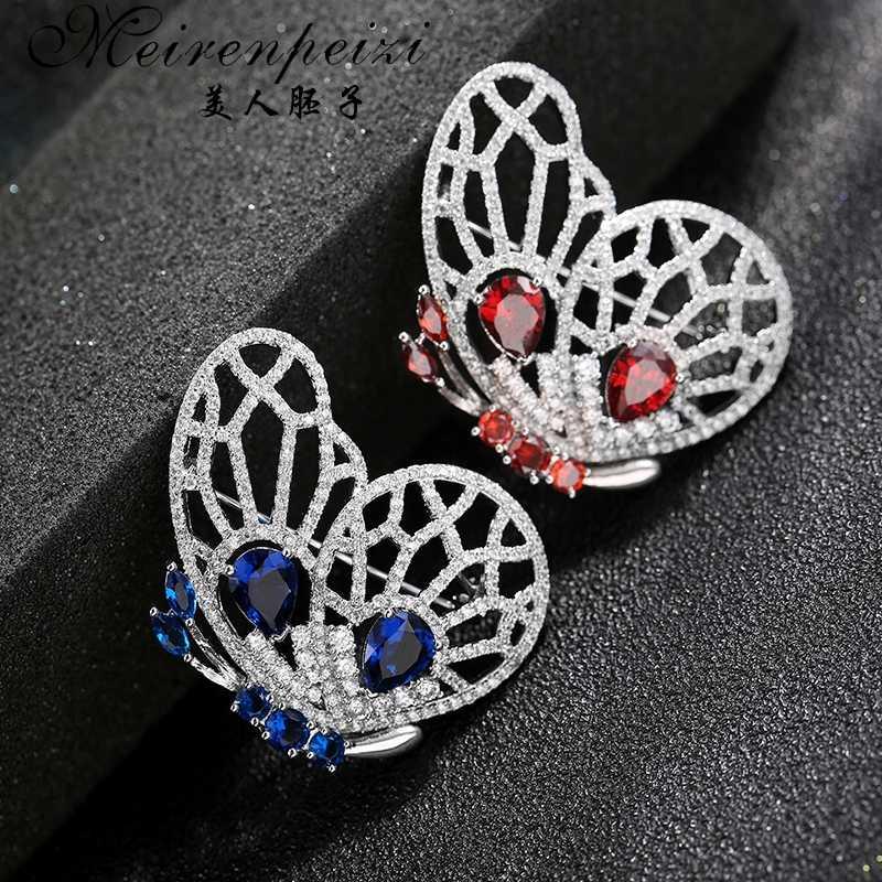 Meirenpeizi Lucu Biru Merah Berlian Imitasi Kupu-kupu Bros Logam Antik Serangga Perak Brosche Wanita Pernikahan Bridal Pin Baru