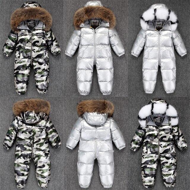 2020 少年ベビー 80% ダックダウン屋外幼児服の子供ジャンプスーツ 2 〜 5yロシア冬防寒着暖かいベビー服