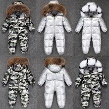 2020 menino bebê jaqueta 80% pato para baixo ao ar livre roupas infantis menina meninos crianças macacão 2 55y russo inverno snowsuit quente roupas do bebê