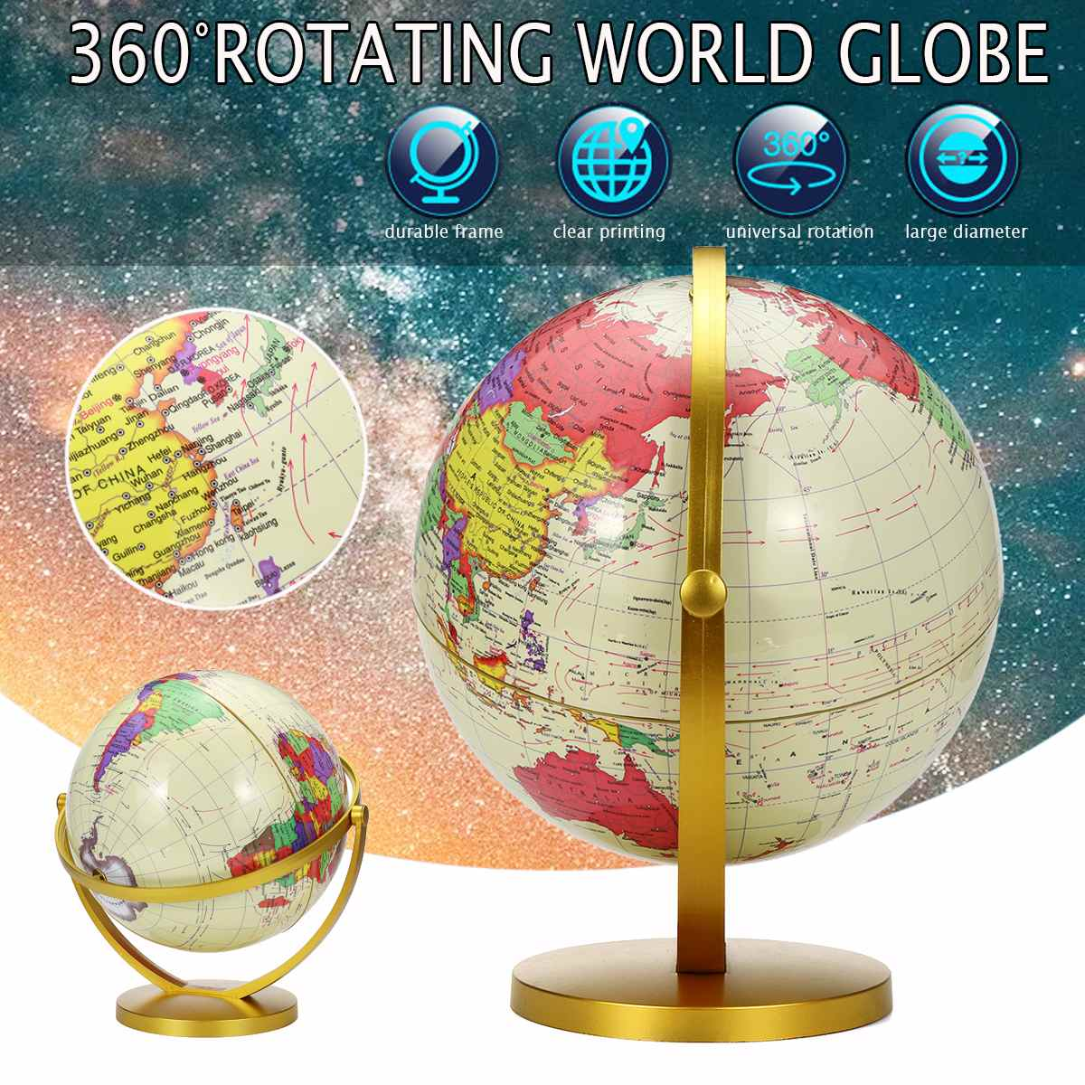 25Cm Large World Earth Globe Map Geography Globes For Desktop Decoration Education Home Office Aid Miniatures Kids Gift