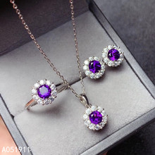 KJJEAXCMY fine jewelry Amethyst 925 sterling silver women pendant necklace chain earrings ring set luxury jewelrypalace luxury pear cut 7 4ct created emerald solid 925 sterling silver pendant necklace 45cm chain for women 2018 hot