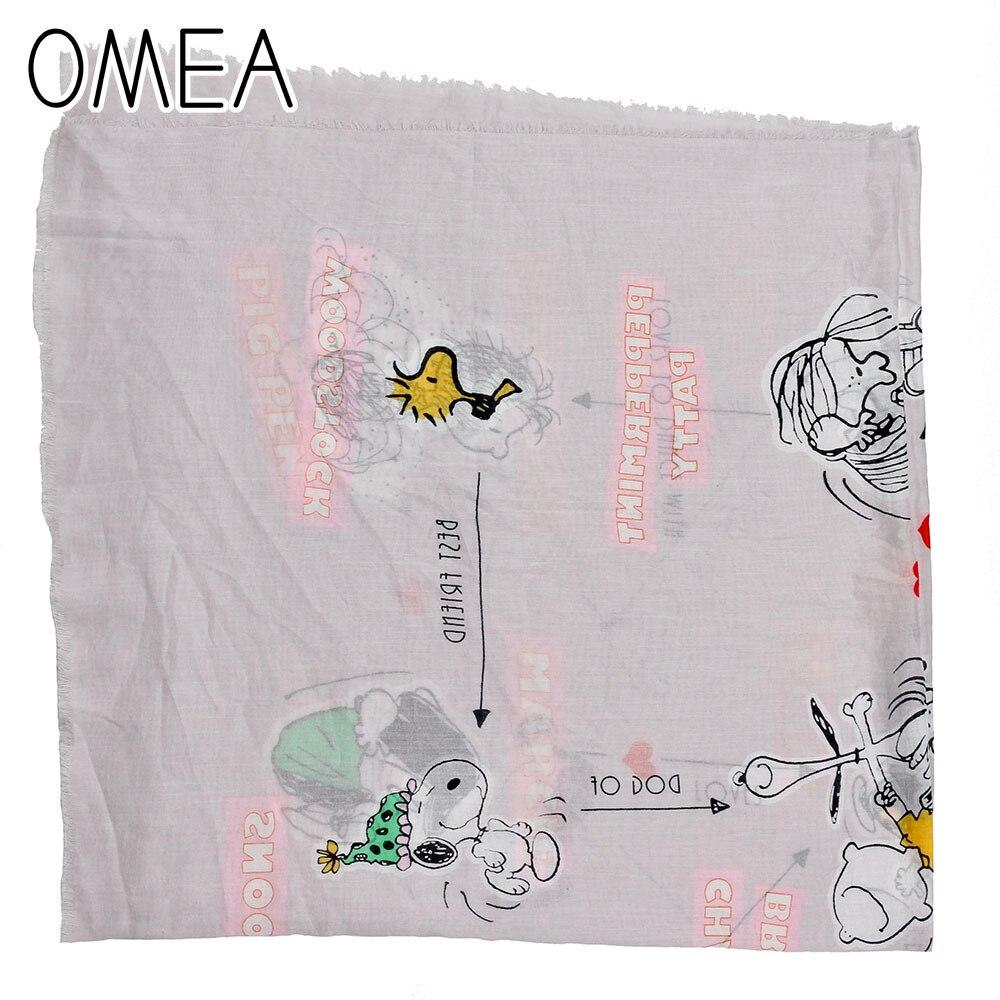 OMEA 100% Cotton Cute Women Scarf Dog Cartoon Pattern Square Shawl Luxury Scarf For Ladies For Spring Winter Fashion Girls Boys