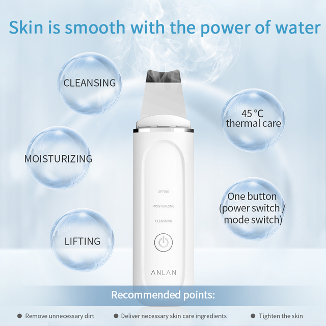 ANLAN 45°C Heat Skin Scrubber Facial Ultrasonic Skin Scrubber Electric Peeling Shovel Pore Cleaner Face Lifting Thermal Care