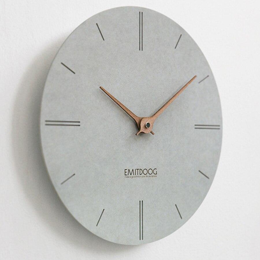 Grande horloge murale en bois Design moderne Simple pour salon nordique bref horloges en bois montre murale décor à la maison silencieux 15 pouces - 6
