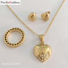 round ring heart earrings necklace jewelry set