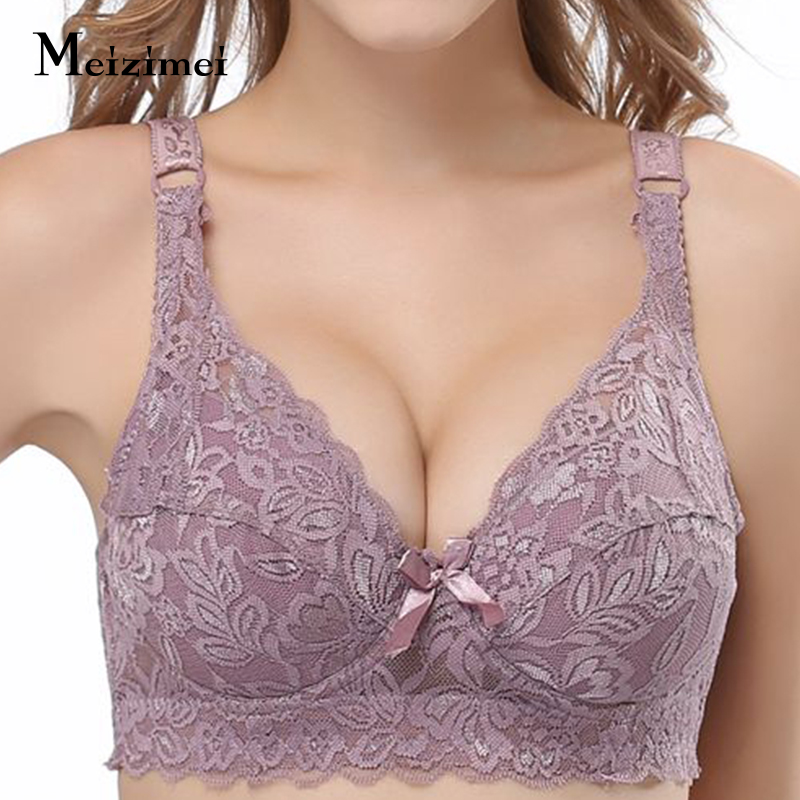 2019 Plus Size 40 90 44 Lace Bras For Women's Bralette Crop Top Bh Underwear Sexy Lingerie Push Up Brassiere Girl Minimizer