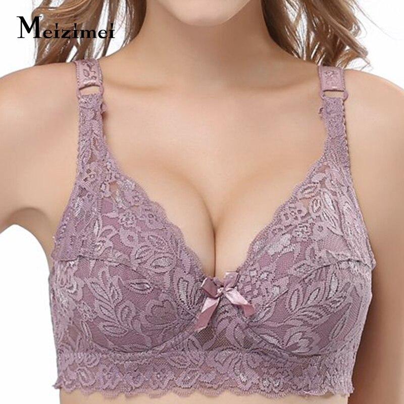 2019 Plus grande grande taille dentelle soutiens-gorge pour femmes Bralette bh sous-vêtements Sexy Lingerie Super Push up brassière fille minimiseur profond V