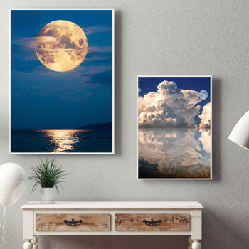 Nordic Cloudy Sky Moon Seascape Canvas Painting Poster Print Wall Art Pictures For Living Room Dining Room Modern Home Decor image