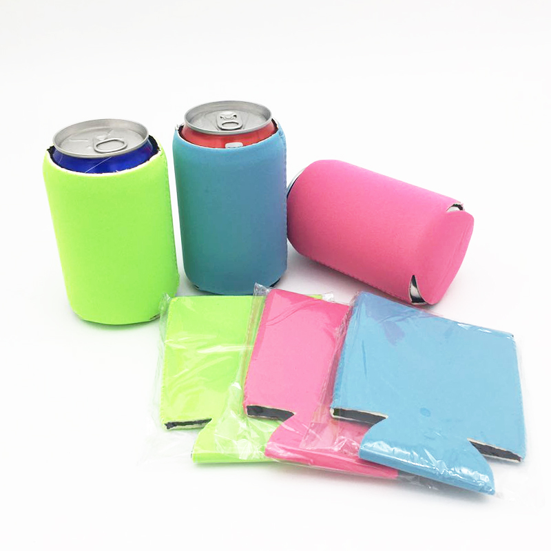10pcs/lot Folding Three Colors Mixed Shipping Real Neoprene 2.5mm Thickness Beer Can Cooler For 330ml Soda Cans  Stubby Holders