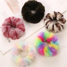 1 шт. красочные леопардовые принты плюшевые меховые резинки для волос для девочек Теплые конский хвост зажим для волос аксессуары