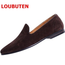 LOUBUTEN Suede Leather Men Loafers Summer Slip On Casual Mens Flats Designer Handmade Slippers Gentleman Banquet And Prom Shoes