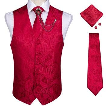 New Teal Green Paisley 100% Silk Formal Dress Vest Men Waistcoat Vest Wedding Party Vest Tie Brooch Pocket Square Set DiBanGu 18