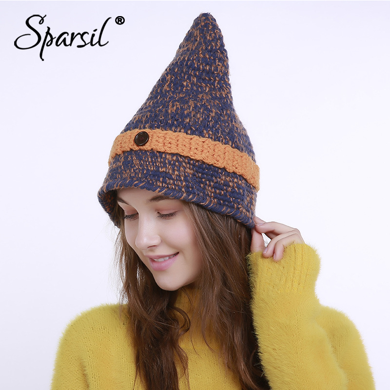 Sparsil Female Pointed Button Knitted Hat Autumn Winter New Hand-knitted Wool Caps Mixed Color Beanies Women Girl