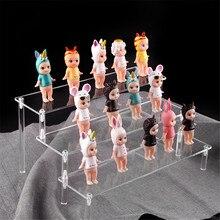 Acrílico expositor de armazenamento de cerâmica rack boneca argila estatueta display stand transparente escada prateleira loja ferramentas exibição
