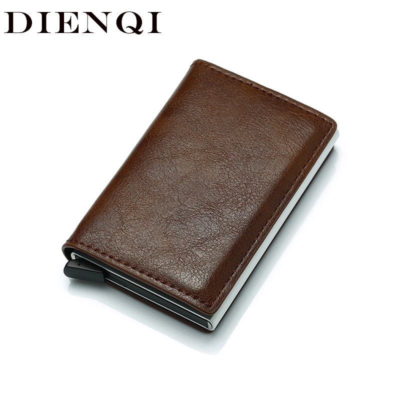 DIENQI Rfid Wallet Card Holder Coin Purse Men's Wallet Slim Small Male Leather Wallet Mini Pocket Money Bag Women Walet Valet