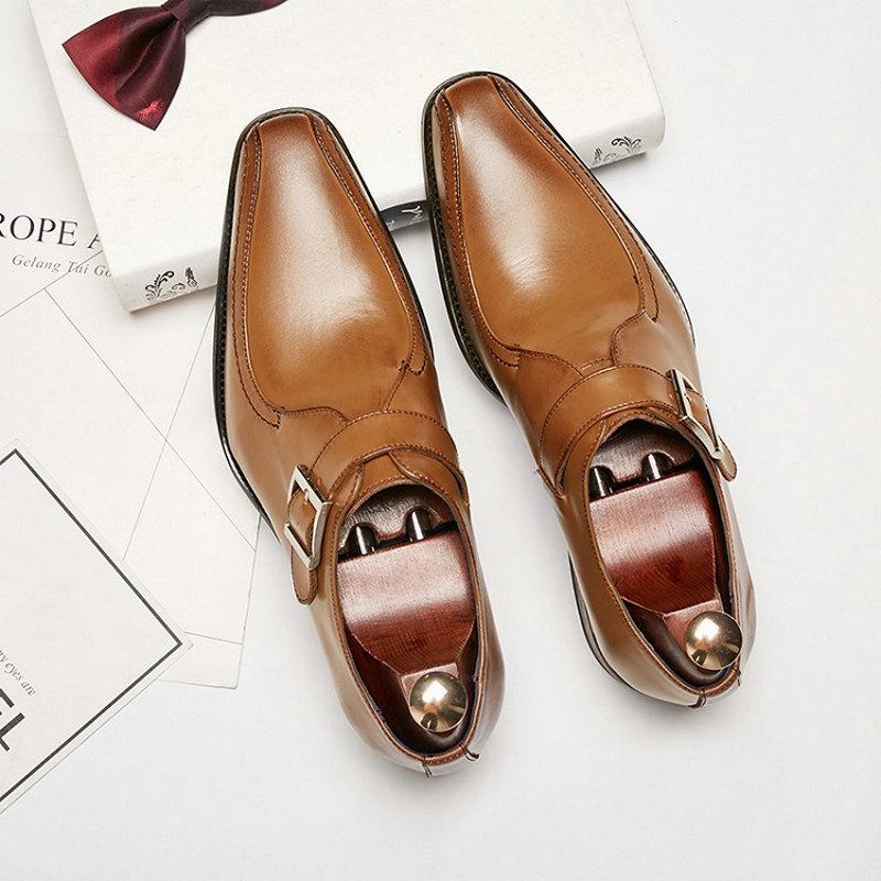 Nueva moda Cuero europeo zapatos formales con tiras de monje marrón para hombre traje de boda comercial para oficina mocasines de vestir para hombre TA-06 Sandalias de moda para mujer, chanclas a la moda romanas, Sandalias planas, zapatos para mujer, chanclas informales sólidas, Dropshipping para mujer