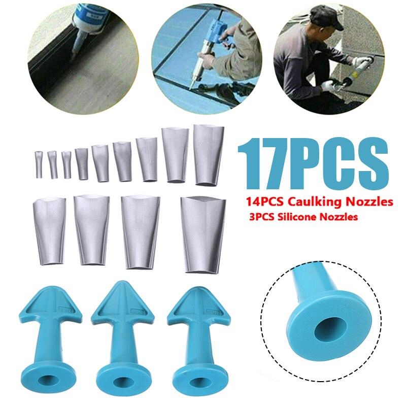 17pcs Sealant Angle Scraper Tool Reusable Stainless Silicone Caulking Finisher Kit Applicator Filler Glue Caulk Nozzle Set