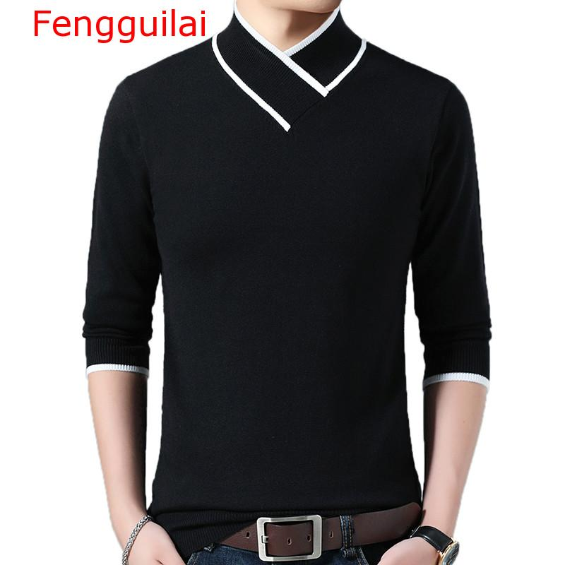 Fengguilai 2020 Brand Casual Autumn Winter Warm Pullover Knitted Y Neck Male Sweater Men Dress Thick Mens Sweaters Jersey