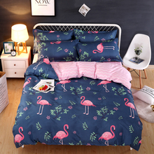 Hongbo Classic Bedding Set 4 Size Fower Flamingo Bed Cotton Pcs/Set Duvet Cover Pastoral Sheet AB Side