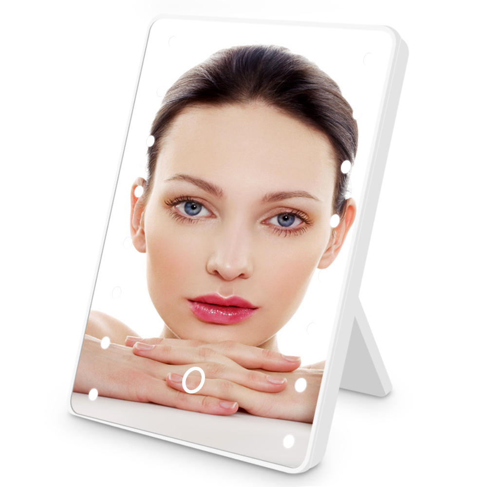 Vanity Mirror With Stand Touch Dimmer Switch Battery Operated Cosmetic Mirror 360 Degree Rotation <font><b>16</b></font> <font><b>LED</b></font> <font><b>Lights</b></font> Makeup Mirror image