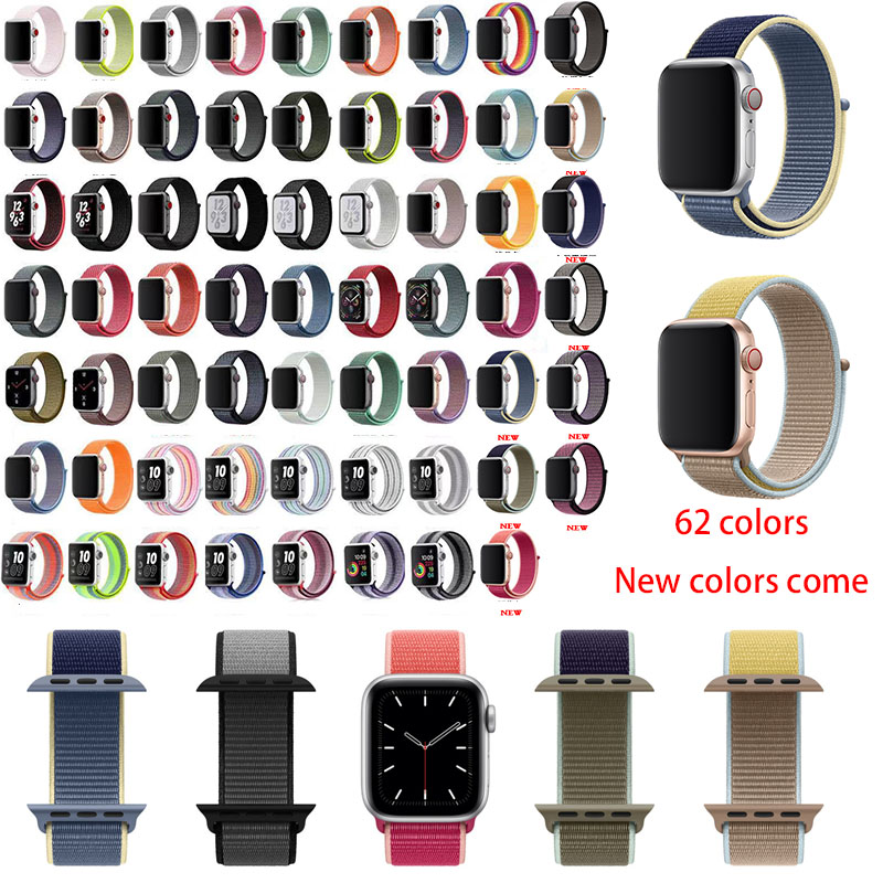 Band For Apple Watch 4 5 3/2/1 38MM 42MM 62new Colors Nylon Soft Breathable Replacement Strap Loop For Iwatch Series 4 40MM 44MM