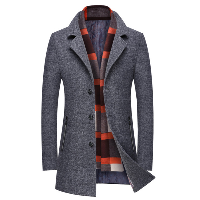 New Men Winter Wool Coat Slim Fit Thick Wool Blends Men Long Trench Coat Fashion Grey Woolen Jacket Scarf Collar Warm Overcoat