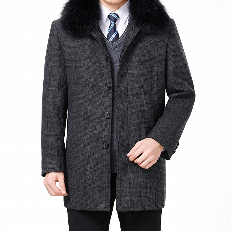 Male Coat Jacket Blends Wool Winter Men's Casual Warm Collar Fur Slim-Fit Fur-Turn-Down