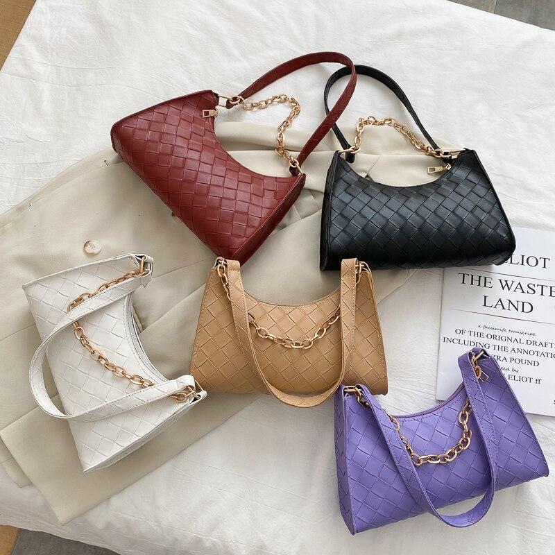 Мягкие вязаные сумочки из искусственной кожи для женщин, лето 2020, женские сумки через плечо с цепочкой, Женская однотонная Повседневная Сумка тоут|Сумки с ручками|   | АлиЭкспресс