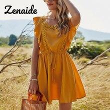 Zenaide letnia sukienka z falbaną żółte kobiety 2021 Backless V wysoki dekolt w talii linia Hollow Out Boho bez rękawów Mini krótka sukienka letnia