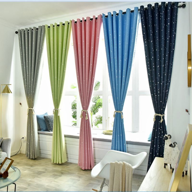 Shiny Stars Children Cloth Curtains For Kids Boy Girl Bedroom Living Room Blue/Pink Blackout Cortinas Custom Made Drapes|Curtains| |  - title=