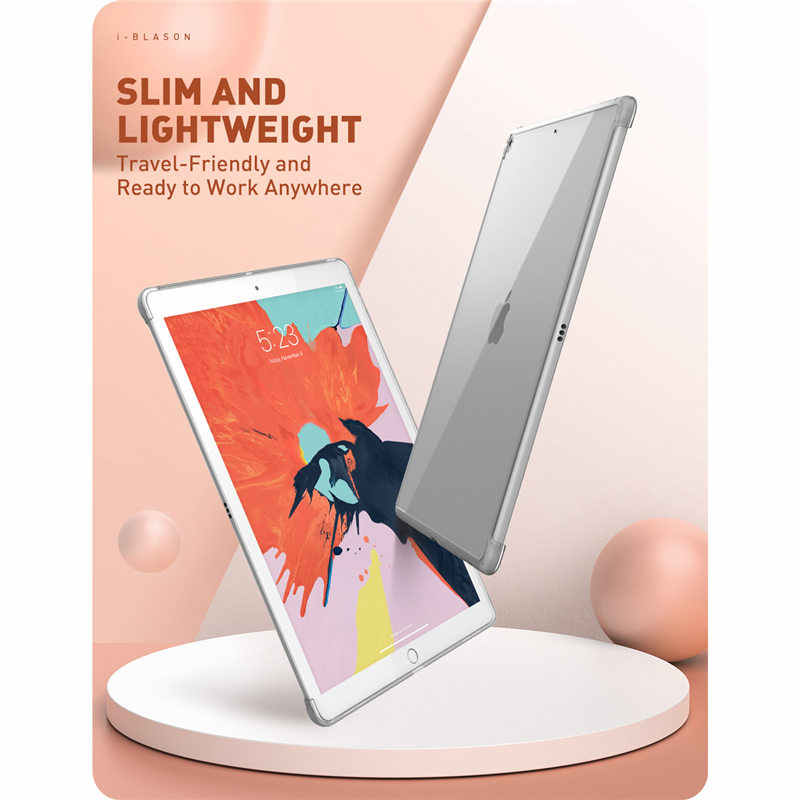 For iPad 10.2 Case (2019 Release) 7th Generation Clear Slim Hybrid Cover,Compatible with Official Smart Cover/Smart Keyboard