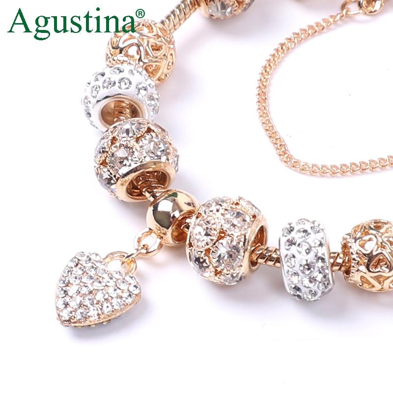 Agustina Beads Bracelet Jewelry Charm Snap-Button Rhinestone Gold Women Fashion Luxury