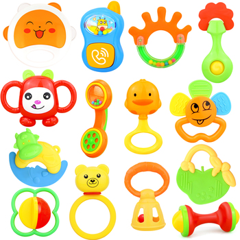 Baby Rattles Toys 0-12 Months Newborn Musical Animal Hand Jingle Shaking Bells Colorful Hand Shake Bell Ring Soft Teether Toys недорого