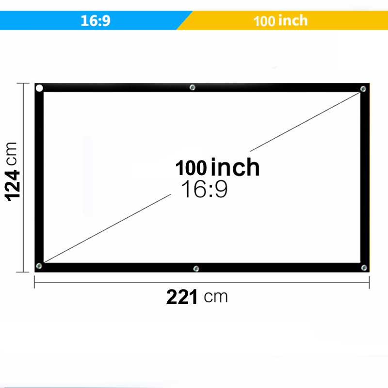 Vivicine Portable Projection Screen 100 Inch 16:9 Projector Screen For Home Theater LED Projector Proyector Beamer