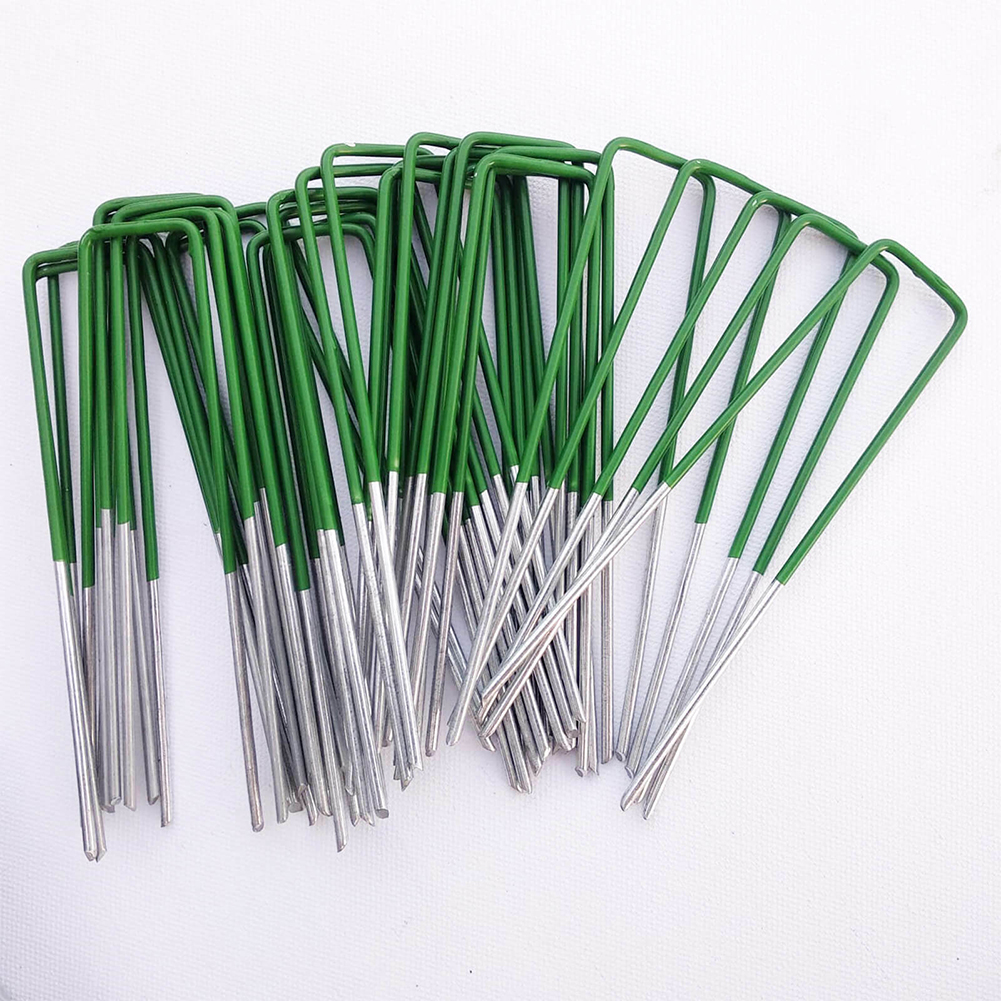 U-Shaped Garden Ground Grass Lawn Turf Galvanised Pegs Staples Fastening Nails For Securing Weed Fabric Landscape Fabric Netting
