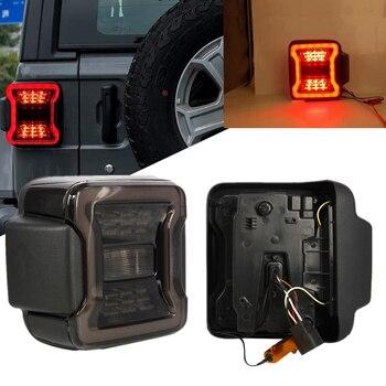 Smoked LED Tail Lights For Jeep Wrangler JL 2018 2019 LED Rear Light Brake Reverse Turn Signal Taillights Lamp 2pcs