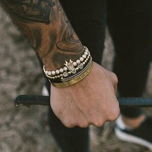 Image 4 - Hommes Bracelet bijoux 4 pièces/ensemble couronne breloques macramé perles Bracelets tressage homme luxe bijoux pour femmes bracelet cadeau