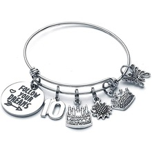 Birthday Gift Bracelet Follow Your Dreams 10-15 Years Old Classmate Daughter Stainless Steel