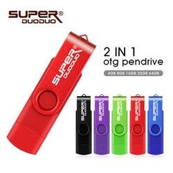 Usb 2,0 pen drive 2 gb 4gb 8gb 16gb 32 gb 64gb unidades flash pendrive 32 gb usb stick de memoria de 64gb OTG de metal usb flash drive para el teléfono