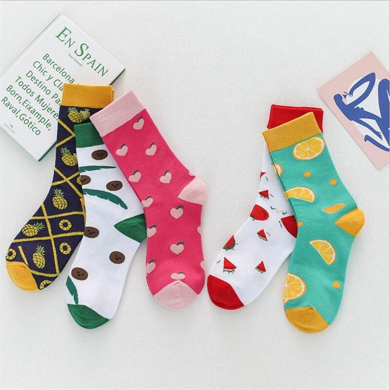 Creative High Quality Fashion Harajuku Kawaii Socks Happy Women Milk Food Paint Strawberry Animal Print Socks Funny Cute Sock