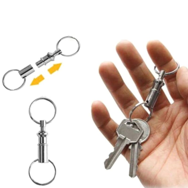 10PC Removable porte clef Keyring Quick Release Keychain Dual Detachable Pull Apart Key Ring Keychain