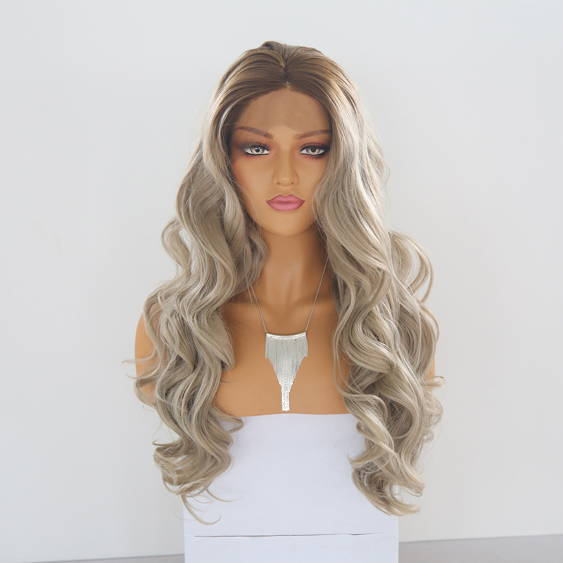 QUINLUX WIGS Brown to Ash Gray Ombre Color Long Body Wave Synthetic Lace Front Wigs for Women Middle Part Heat Resistant Wigs