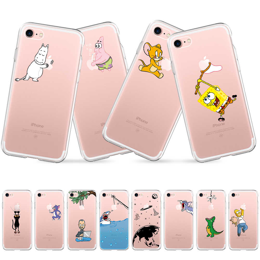 Cartoon Nijlpaard Kat Printing Telefoon Case Voor iPhone 6s 6 7 8 Plus 5 5s SE Soft Silicon case Voor iPhone 7plus Transparant Back Cover